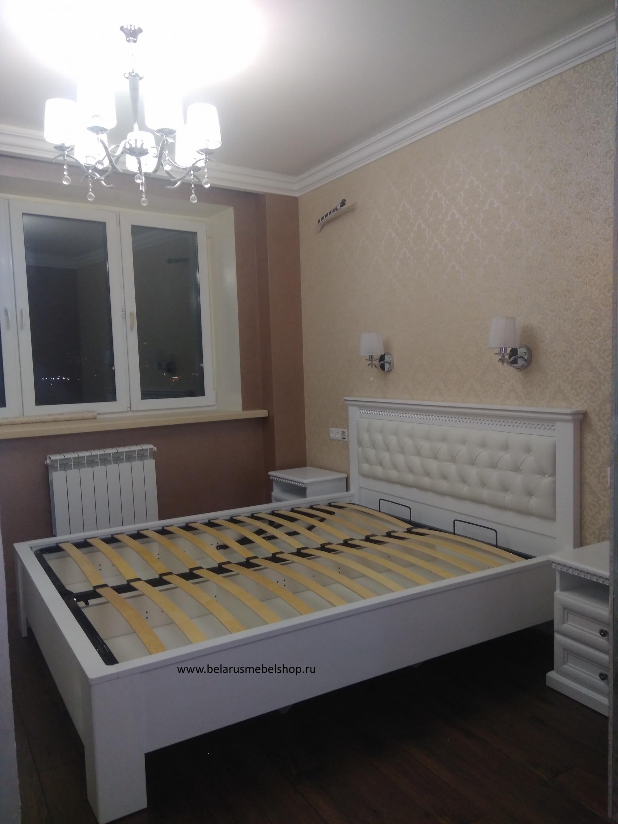 кровать двуспальная с мягким изголовьем и ящиком для белья нинель